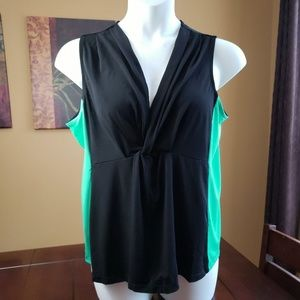 Anne Klein Sleeveless Colorblock Twist Top sz 8